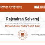 SEMrush Academy Certificate SMToolkit